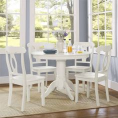 Free Shipping. Buy Aubrey 5-Piece Traditional Height Pedestal Dining Set, Multiple Colors at Walmart.com