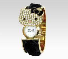 Hello Kitty Wristwatch Bracelet: Black Rose  Item #30100-201201  BEST SELLER  $38.00