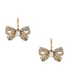 Betsey Johnson Pearl Bow Drop Earrings