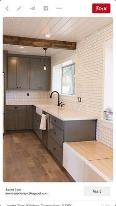 dark gray shaker cabinets & white subway tile kitchen - Jenna Sue: Kitchen Chronicles: A DIY Subway Tile Backsplash, Part 1 Kitchen Redo, New Kitchen, Kitchen Remodel, Kitchen Dining, Ugly Kitchen, 10x10 Kitchen, Smart Kitchen, Room Kitchen, Kitchen Styling