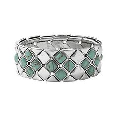 ossil® Wide Turquoise Diamond-Shaped Stretch Bracelet