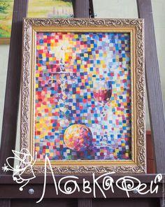 Купить Оригинальная картина маслом на холсте с бокалом вина - комбинированный, картина, картина маслом