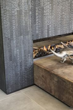 Haardombouw Zwarthout Wood Fireplace, Modern Fireplace, Fireplaces, Victoria House, Charred Wood, Small Hallways, Aging Wood, Exterior Siding, Wood Interiors
