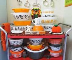 Vintage Halloween Pyrex Display 2014 | Flickr - (some new Pyrex mixed in).