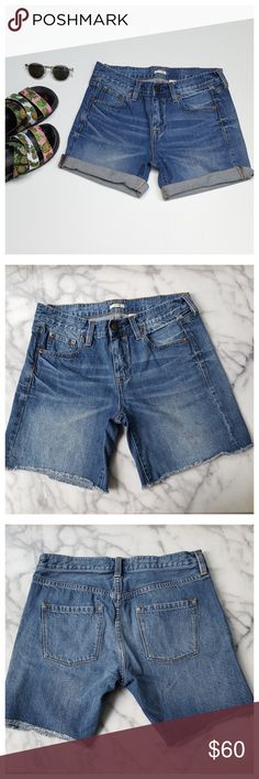 """J.Crew Faded Indigo Denim Shorts Medium wash relaxed fit denim shorts. Five-pocket styling, button front with zip fly, wiskering and fading on front, frayed hem. Width at waist 14.5"""", front rise 9"""", back rise 13.5"""", inseam 7"""" unrolled. 100% cotton, machine wash/dry. EUC. J. Crew Shorts Jean Shorts"""