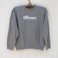vintage ellese perugia italia sweatshirt big logo embroidery size M Hang Ten, A Bathing Ape, Ellesse, Fulton, Stripes Design, Graphic Sweatshirt, Pullover, Embroidery, Tracking Number
