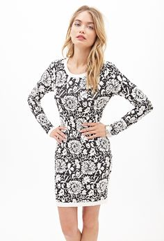 Baroque Floral Sweater Dress   FOREVER21