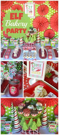 An elf bakery shop party with a cookie decoration station, holiday photo booth and gift exchange! See more party planning ideas at CatchMyParty.com!