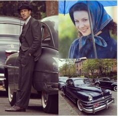 Outlander filming scenes Downhill Street, Glasgow w/Tobias Menzies as Frank Randall and Caitriona Balfe as Claire Randall Fraser - September 2016