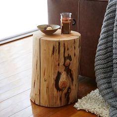 Natural Tree Stump Side Table. Rustic cabin/log home decor. #affiliate #log #home decor