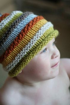 Knitting Patterns Boy boy's knit hat with colourful stripes. size 18 by SarahLamontBoy's knit hat with colourful stripes. Size 18 months to 4 years. Choose colour, photo prop, elf caJayson Jayson Kemper -- interesting because every other stripe is a Baby Knitting Patterns, Knitting For Kids, Loom Knitting, Knitting Projects, Crochet Projects, Crochet Patterns, Diy Projects, Knit Or Crochet, Crochet Baby