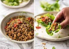 Filling for Chinese Lettuce Wraps made with pork or chicken and vegetables in a savoury brown sauce. Use vegan mince Bow Recipe, Recipe Tin, Healthy Dishes, Healthy Recipes, Keto Recipes, Healthy Food, Chinese Lettuce Wraps, Pork Recipes, Cooking Recipes