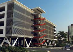 Проект паркинга со встроенными помещениями общественного назначения. Parking Building, Parking Lot, Car Parking, Warehouse Design, Fire Escape, Facade Design, Modern Exterior, Building Design, Condo
