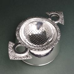 Silver Tea Strainer flame textured