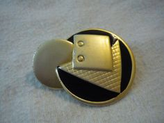 Gold and Black Abstract Brooch by Winterof45 on Etsy