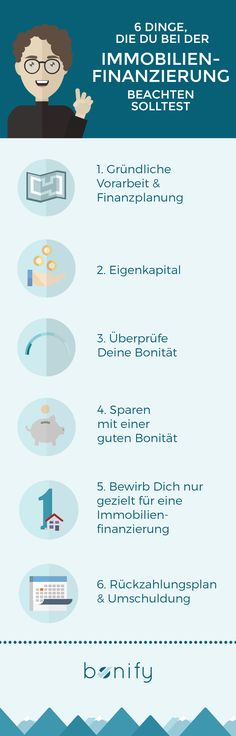 Du hast schon immer von Deiner eigenen Wohnung oder Deinem eigenen Haus geträumt? Dann solltest Du folgende 6 Aspekte zur Immobilienfinanzierung beachten.  #bonify #bonität #auskunftei #selbstauskunft #kostenlos #bonitätsprüfung
