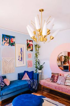 home decor blue pink and blue living room decor, wall art decor Interior Design Dubai, Interior Design Software, Colorful Interior Design, Colorful Interiors, Interior Colors, Interior Modern, Design Salon, Home Design, Design Ideas