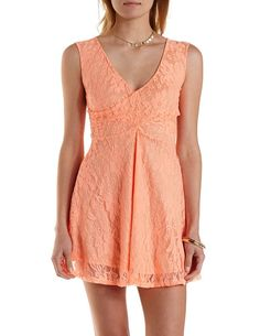 Lace Wrap Skater Dress by Charlotte Russe - Neon Coral
