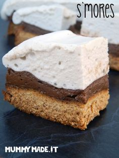 S'mores are a classic dessert; These S'mores are Gluten Free, Dairy Free, Refined Sugar Free and Paleo Friendly. It's a crunchy biscuit base with decadent chocolate mousse and a fluffy marshmallow top. Almond Recipes, Paleo Recipes, Sweet Recipes, Whole Food Recipes, Cooking Recipes, Copycat Recipes, Paleo Dessert, Healthy Sweets, Dessert Recipes