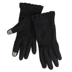 Runway Womens Black Ruffled Texting Gloves Sleek Winter Driving iPhone Gloves L, Women's, Size: Large