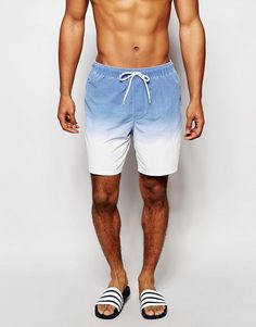 ASOS | ASOS Swim Shorts In White With Acid Wash Dip Dye In Mid Length