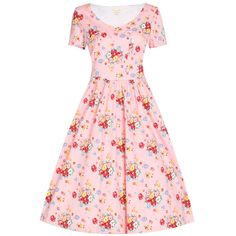 'Dolce' Pink Spray Floral Swing Dress