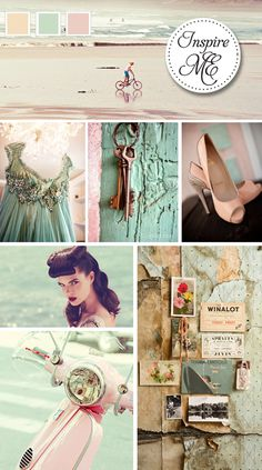 Pale Pink, Champagne and Mint Green. Unique wedding colours