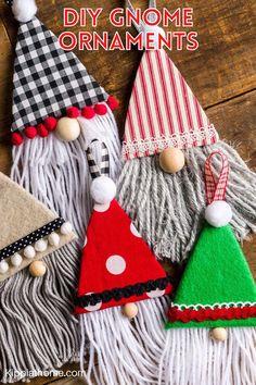 Gnome Ornaments, Christmas Ornament Crafts, Christmas Gnome, Diy Christmas Gifts, Handmade Christmas, Holiday Crafts, Christmas Holidays, Homemade Christmas Crafts, Christmas Decorations To Make