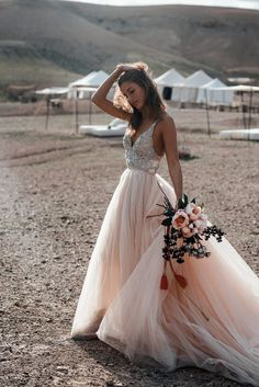 Delicate beaded top adorns this stunning ball gown wedding dress. Delicate beaded top adorns this stunning ball gown wedding dress. Featuring spaghetti strap, v-neck and court trains. Perfect Wedding Dress, Dream Wedding Dresses, Bridal Dresses, Wedding Gowns, Champagne Wedding Dresses, Blush Colored Wedding Dress, Champagne Lace Wedding Dress, Beaded Wedding Dresses, Maxi Dresses