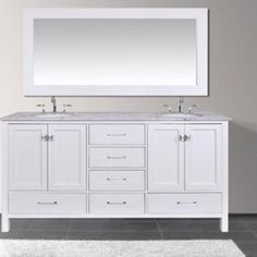 Stufurhome Malibu Pure White Double Sink Bathroom Vanity Set - - Bath Vanity Plus White Bathroom Decor, White Vanity Bathroom, Vanity Set, White Decor, Marble Top, White Marble, Classic White Bathrooms, Porcelain Sink, Bath Vanities