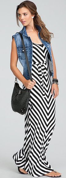 short chevron striped - medium wash denim vest -  black crossbody bag - black sandals - silver stud earrings - black cuff bracelet