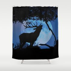 King Stag Shower Curtain This elk bull is howling to the moon. Photo as it came out of the box, I just added the moon deer, elk bull, animal, fullmoon, nature, tree, silhouette, blue, black, red deer, stag, wildlife