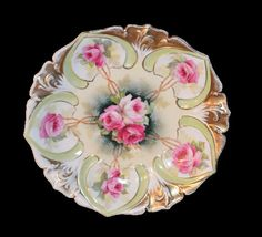 RS Prussia Plate Medallion Mold 78 Pink Roses by ChristiesCurios