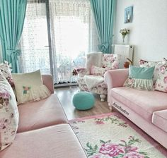 Pink and robins egg blue Living Room Built Ins, Living Room Decor On A Budget, Living Room Redo, Home Living Room, Living Room Designs, Pastel Room Decor, Pastel Living Room, Shabby Chic Living Room, Ramadan Decoration