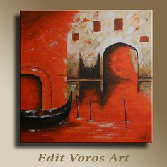 Original acrylic painting of Venice Italy on by EditVorosArt, $180.00