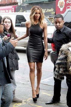 Ciara in a leather mini. Sex.