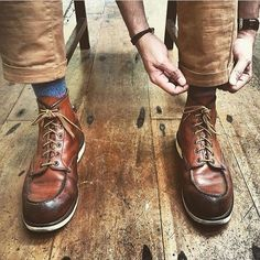 Great shot of the iconic 875 moc toe. Photo courtesy of . Denim Boots, Jeans And Boots, Leather Boots, Red Wing Heritage Boots, Red Wing Boots, Red Wing Moc Toe, Red Wing 875, Adventure Boots, Mens Boots Fashion