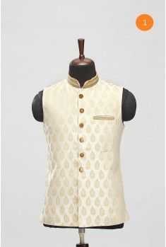 Manyavar Biscuit Colored Nehru Jacket