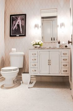 The powder room of the Fitzgerald Suite at The Plaza Hotel designed by Catherine Martin - Powder Room; Bathroom Renos, Bathroom Furniture, Small Bathroom, Bathroom Things, Bathroom Ideas, Restoration Hardware Mirror, Plaza Design, Parlor Room, Dream Bathrooms