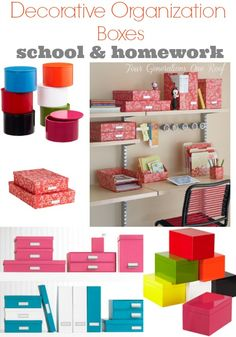Getting organized with decorative boxes and baskets + creating a homework & school station @Mandy Dewey Generations One Roof