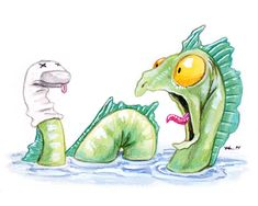 The loch ness monster and the lurking sock puppet - funny illustration by Ursula Vernon.