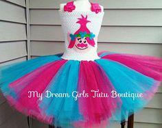 NEW Sparkly Princess Poppy Costume. Trolls Tutu Dress. Poppy