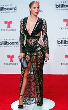 Jennifer Lopez the singer dared to bare Thursday in a revealing fishnet dress at the Billboard Latin Music Awards in Florida. Sexy Outfits, Sexy Dresses, Beautiful Dresses, Nice Dresses, Club Dresses, Jennifer Lopez, Black Lace Gown, Fishnet Dress, Femmes Les Plus Sexy