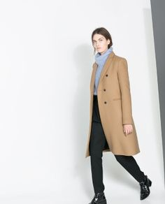 Masculine Double Breasted Coat in camel by Zara (Portugal) €100. Outer Shell: 69% Wool, 31% Polyamide. Lining: 100% Viscose. Ref. 7637/629
