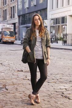 black jeans / leopard oxfords / striped pullover / army jacket