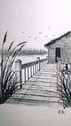 Art Drawings Beautiful, Art Drawings For Kids, Art Drawings Sketches Simple, Realistic Drawings, Pencil Sketches Of Nature, Landscape Pencil Drawings, Pencil Art Drawings, Simple Landscape Drawing, Amazing Pencil Drawings