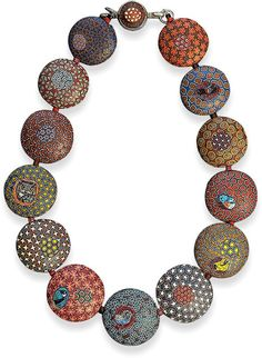 Cynthia Toops combines large lentil beads covered in millefiori cane slices with small insets of micromosaic bird motifs for this new necklace called Seeing Birds. The birds are all native to Washington state and the piece is featured in the Of [...]