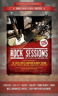 Rock Event Flyer / Poster Template PSD