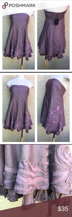 """Ryu Strapless Lilac Embroidery Dress New Lilac Strapless , Embroidery Hem Lining Pleated. Side Zip, Smocked Back. Small Measure: 14"""" Pit To, 25"""" Length. Large Measure : 17"""" Pit To Pit, 27""""Length  80% Cotton, 20% Rayon. Ryu Dresses"""