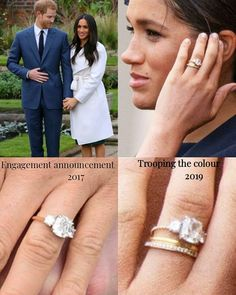 Meghan Markle Gave Her Engagement Ring a Fresh Update - Dress Like A Duchess Megan Markle Engagement Ring, Royal Engagement Rings, Engagement Solitaire, Celebrity Engagement Rings, Three Stone Engagement Rings, Prince Harry And Megan, Harry And Meghan, Meghan Markle Ring, Meghan Markle Wedding Ring